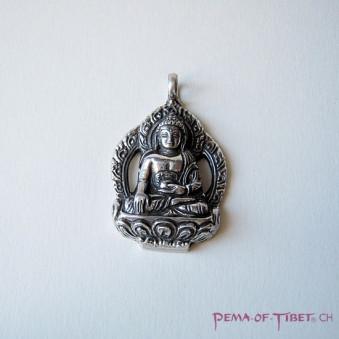 Pendant - Silver L, Buddha with aura