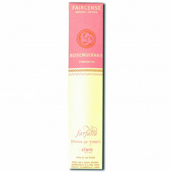 Faircense Faircense incense Rosegeranie 100% natural ingredients and pure essences, rolled by hand with Masala method, Auroville India / 10-Pack