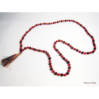 Prayer beads Mala with coral and Rudrakhasha Fruit / 2-Pack