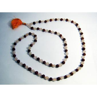 Prayer beads Mala with Rose Quartz Rudrakhasha fruit / 2-Pack
