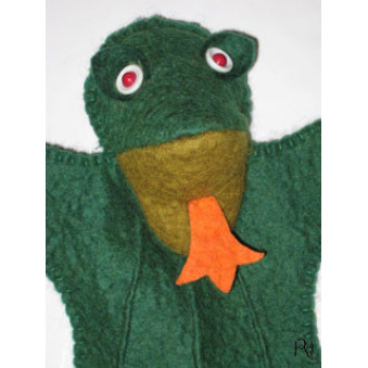 Hand puppets - felt frog green