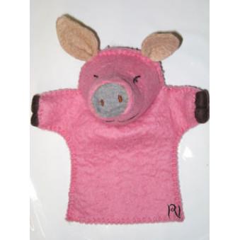 Hand puppets - felt pig, pink