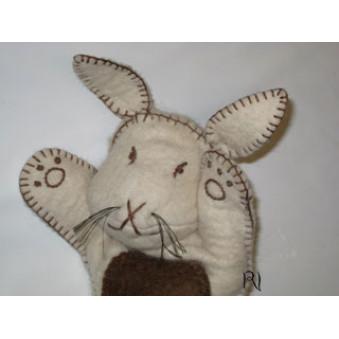 Hand puppets - felt bunny, white