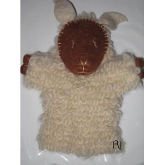 Hand puppets - Felt sheep white studded