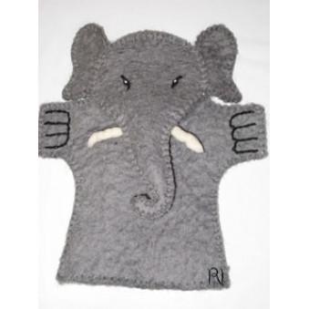 Hand puppets - felt elephant gray