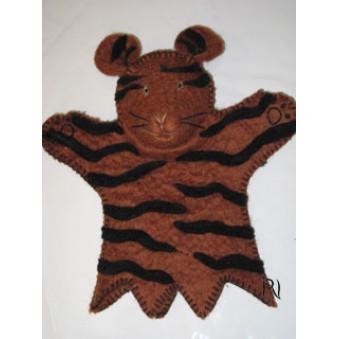 Hand puppets - felt tiger, brown