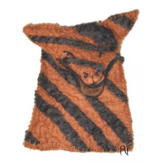 Hand puppets - felt wolf, brown-black