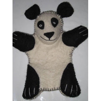 Hand puppets - felt panda, white-black