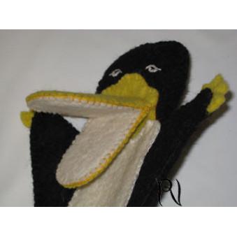 Hand puppets - felt penguin, black-yellow-white