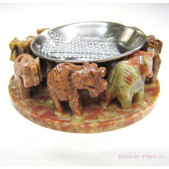 Incense Burner and Incense Holder Stone Elephant in Circle / 5-Pack