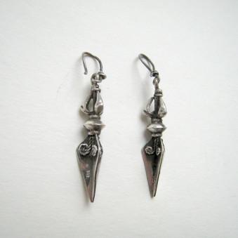 Earrings - Silver Thunderbolt Phurba