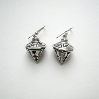 Earrings - carved silver pendulum