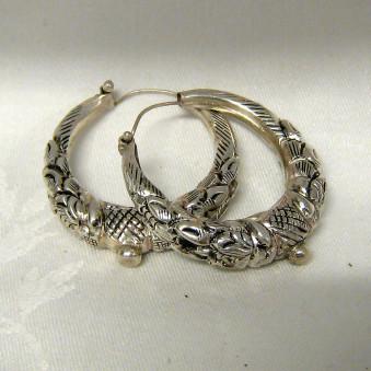 Earrings - carved silver makuri- creoles 40 mm
