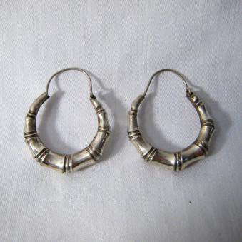 Earrings - Silver Creole Bamboo L