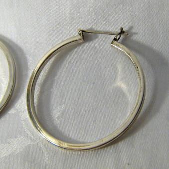 Earrings - silver creoles edged open