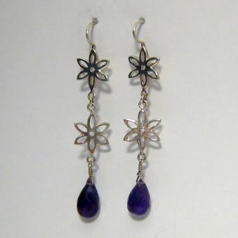 Earrings 1 hanging. Flower + stone drops