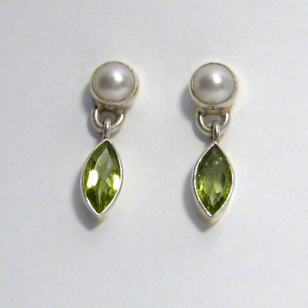 Earrings pearl with stone