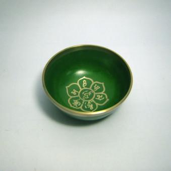 New singing bowls silver OM in lotus flower, green, 8 cm