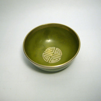 New singing bowl Silver Shou coin, yellow-green, 8 cm