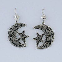 Earrings moon star with fine filigree work, silver