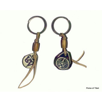 Key ring leather strap with mani stone / 5-Pack