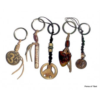 Keychain leather strap with motif / 5-Pack